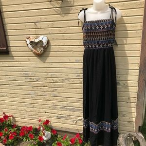 NY&Co tie strap embroidered maxi sundress NWT